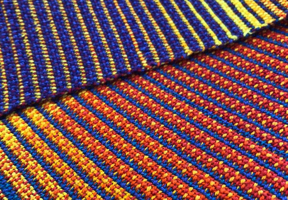 Section of orange and blue double cloth