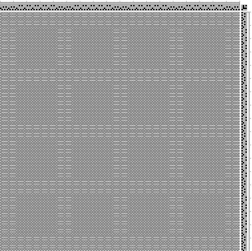 Threading draft for two block window panes design with 4 x 4 panes in Bronson lace.