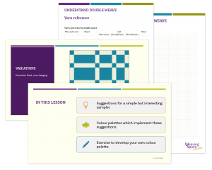 A selection of overlaid screenshots showing powerpoint slides and worksheets. The front sheet says 'In this lesson' and lists the contents as 1: suggestions for a simple but interesting sampler, 2: colour palettes which implement these suggestions, and 3: exercise to develop your own colour palette